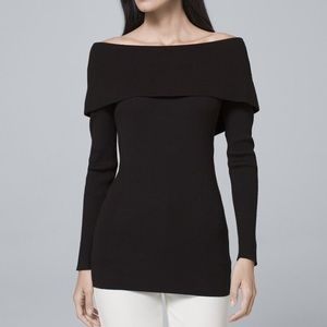 NWT WHBM Black Bow Back Sweater